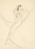 Pin-up and Glamour Art, ALBERTO VARGAS (American, 1896-1982). Hammock study. Pastel,graphite, and watercolor on paper. 13 x 9.5 in.. Not signed...