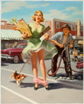 Pin-up and Glamour Art, ART FRAHM (American, 1906-1981). The Shake-Down, 1955. Oilon board. 30.5 x 24.5 in.. Not signed. ...