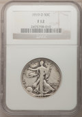 Walking Liberty Half Dollars: , 1919-D 50C Fine 12 NGC. NGC Census: (11/327). PCGS Population(37/441). Mintage: 1,165,000. Numismedia Wsl. Price for probl...