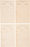"""Autographs:Celebrities, Susan B. Anthony: Four Autograph Letters Signed """"Susan B. Anthony"""" and written to feminist sculptor Adelaide Johnson bet... (Total: 4 Items)"""