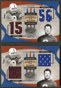 """Football Cards:Singles (1970-Now), Leaf Certified """"Fabric of the Game"""" Unitas/Thorpe Jersey SwatchCard Pair (2). ..."""