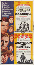 """Movie Posters:Western, Gunfight at the O.K. Corral/Last Train from Gun Hill Combo (Paramount, R-1963). Three Sheet (41"""" X 81""""). Western.. ..."""