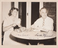 "Autographs:U.S. Presidents, Franklin D. and Eleanor Roosevelt Signed 1941 Christmas Photo. 9.25"" x 7.5"" (sight), matted to an overall size of 14"" x 13""..."