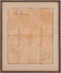 "Autographs:Statesmen, Daniel Boone Manuscript Document Signed. Large folio, 13.25"" x16.75"", ""Town of Maysville"", Kentucky, December 11, 1788...."