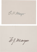 "Autographs:Inventors, Charles Mayo Card Signed (""C. H. Mayo""), Together with aWilliam Mayo Card Signed (""W. J. Mayo""). Bo... (Total: 2Items)"