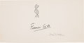 """Autographs:Inventors, Francis Crick and James D. Watson Signatures on a large, stiff cardmeasuring 8.5"""" x 4.25"""". Above his name, Crick has sketch... (Total:2 Items)"""