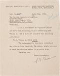 "Autographs:Inventors, Chandrasekhara Raman Typed Letter Signed ""C. V. Raman."" Onepage, 6.5"" x 8.5"", Bangalore, July 15, 1965. The Indian phys..."