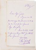 "Autographs:Inventors, John Tyndall Autograph Letter Signed. One page, 4.5"" x 7"", n.p.,May 14 [n.y.], on embossed stationery. Tyndall (1820-1893),..."