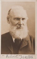 "Autographs:Inventors, William Thomson, Lord Kelvin, Photograph Postcard Signed ""KelvinJuly 17, 1906."" A black and white photograph (3.75""..."