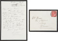 """Autographs:Inventors, Joseph Lister Autograph Letter Signed. One page (mourning stationery), 4"""" x 6"""", """"James's Hotel, Brixton [England],"""" Sept... (Total: 2 Items)"""