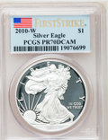 Modern Bullion Coins, 2010-W $1 Silver American Eagle, First Strike PR70 Deep Cameo PCGS.PCGS Population (14175). NGC Census: (0). (#415535)...