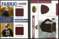 "Football Cards:Singles (1970-Now), Leaf Certified ""Fabric of the Game"" Thorpe and Thorpe/Baugh Jerseyand Jacket Swatch Pair (2). ..."