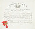 "Autographs:U.S. Presidents, Rutherford B. Hayes Document Signed ""RB Hayes"" as president.One partially-printed page, 17"" x 14"", ""city of Washi..."