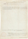 """Autographs:U.S. Presidents, John Quincy Adams Land Grant Signed. One partially-printed vellum page, 12"""" x 17"""", Washington, November 24, 1825, granting A..."""
