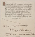 "Autographs:Authors, Rudyard Kipling Poem Signed ""Yours very sincerely / Rudyard Kipling / Dec. 8, 1910. Burwash. Sussex. England."" One page,..."