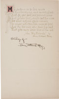 """Autographs:Authors, James Whitcomb Riley Poem Signed """"Greetings of James WhitcombRiley."""" One page, 4.25"""" x 7.25"""", n.p., n.d. The poet from ..."""