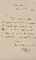 """Autographs:Authors, James Russell Lowell Autograph Letter Signed """"J. R. Lowell.""""One page, 4.25"""" x 7.25"""", Hotel Danieli, Venice, November 2,..."""