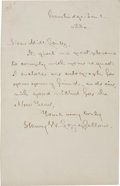 "Autographs:Authors, Henry Longfellow Autograph Letter Signed. One page, 4.5"" x 7"",Cambridge, January 1, 1880, granting a request for his autogr..."