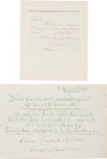 Autographs:Authors, Oliver Wendell Holmes Sr. Autograph Letter Signed and Signature.The letter (one page, Boston, October 31, 1871) is sent in ...(Total: 2 Items)