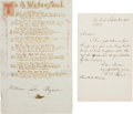 Autographs:Authors, William Cullen Bryant Autograph Letter Signed and Poem Signed. TheRomantic poet's letter (one page, New York, September 9, ...(Total: 2 Items)