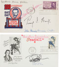 Autographs:Authors, Two First-Day Covers Containing the Signatures of Six Authors:Richard Bach, Katherine Ann Porter, Pearl S. Buck, Herman Wou...(Total: 2 Items)