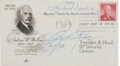 Autographs:Celebrities, Harland Sanders and Ray Kroc First Day Cover Signed. The FDCcommemorates the life of financier Andrew W. Mellon and is post...