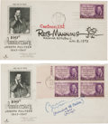 Autographs:Artists, Bill Mauldin and Reg Manning First Day Covers Signed. Both FDCscommemorate Joseph Pulitzer and are postmarked New York Apri...(Total: 2 Items)