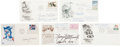 Autographs:Artists, Five First Day Covers Containing Signatures of Eight Sculptors,including Henry Moore, Korczak Ziolkowski, Laszlo Ispanky, a...(Total: 5 Items)