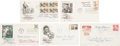 Autographs:Artists, Five First Day Covers Signed by Six Artists: Norman Rockwell, Carolyn Blish, Ernest Berke, Thomas Hart Benton, Lou Feck, and... (Total: 5 Items)