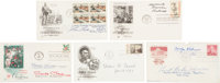 Five First Day Covers Signed by Six Artists: Norman Rockwell, Carolyn Blish, Ernest Berke, Thomas Hart Benton, Lou Fe