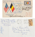 Autographs:Military Figures, Omar Bradley and Eddie Rickenbacker First Day Cover Signed. The FDC is also signed by six other American officers, including...