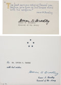 Autographs:Military Figures, Omar Bradley Cards (Two) Signed after the general's retirement from the U.S. Army. One card offers best wishes to the recipi... (Total: 2 Items)