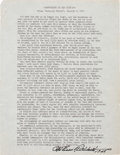 "Autographs:Military Figures, Eddie Rickenbacker Transcript Signed regarding aviation predictions. One page, 8.5"" x 11"", n.p., January 9, 1960, entitl..."