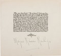 "Autographs:Authors, Marjorie Kinnan Rawlings Quotation Signed. One page, 7.5"" x 6.75"",n.p., n.d. Rawlings, the author of such works as The Ye..."