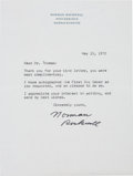 "Autographs:Artists, Norman Rockwell Typed Letter Signed. One page, 6"" x 7.75"",Stockbridge, Massachusetts, May 15, 1972, on personal letterhead..."