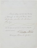 "Autographs:U.S. Presidents, Franklin Pierce Presidential Pardon Signed. One page, 8"" x 10.5"",Washington, December 19, 1855, directing ""the Secretary ..."