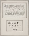 """Autographs:Authors, Robert Frost Signature. The poet has signed """"Robert Frost /Amherst Mass / February / 1929"""" on a slip of paper that has ..."""