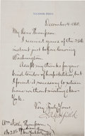 """Autographs:U.S. Presidents, James Garfield Letter Signed """"J. A. Garfield"""" aspresident-elect. One page, 5"""" x 8"""", Mentor, Ohio, December 4, 1880.One..."""