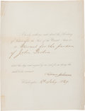 "Autographs:U.S. Presidents, Andrew Johnson Presidential Pardon Signed. One page, 8.5"" x 11"", Washington, February 16, 1869, directing ""the Secreta..."