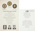 "Autographs:U.S. Presidents, [John F. Kennedy Assassination]. ""Texas Welcome Dinner""Printed Program and Invitation. The program (8.5"" x 14"")... (Total:2 Items)"