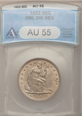 Seated Half Dollars, 1853 50C Arrows and Rays--Doubled Die Reverse--AU55 ANACS.FS-801....