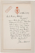 "Autographs:Inventors, James Dewar Autograph Letter Signed. One page, 4.5"" x 7"", London,April 23, 1919, on ""Royal Institution of Great Britain..."