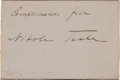 """Autographs:Inventors, Nikola Tesla Card Signed. The gold-edged card (3.25"""" x 2"""") reads""""Compliments from Nikola Tesla"""" and is accompanied by a..."""