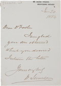 "Autographs:Inventors, William Jenner Autograph Letter Signed ""W. Jenner."" Onepage, 4"" x 5.5"", Grosvenor Square [London], June 20, 1884. The E..."