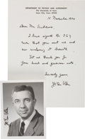 "Autographs:Inventors, James Van Allen Autograph Letter Signed and Photograph Signed. Inthis letter (one page, November 15, 1974, on ""Department..."