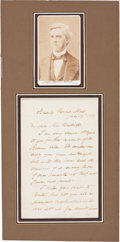 "Autographs:Authors, Oliver Wendell Holmes Sr. Autograph Letter Signed ""O. W.Holmes."" Two pages, 4.5"" x 7"", Beverly Farms, Massachusetts,Ju... (Total: 2 Items)"