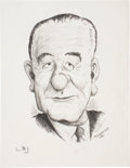 "Autographs:U.S. Presidents, Lyndon B. Johnson Original Drawing Signed in pencil. The charcoaldrawing (8.5"" x 11"") of the thirty-sixth president is sign..."