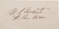 """Autographs:U.S. Presidents, Ulysses S. Grant Signature on a small card. 3"""" x 1.5"""". Two faint paper clip impressions, else very good...."""