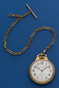 Timepieces:Pocket (post 1900), Hamilton 21 Jewel, 992 B Pocket Watch With Chain. ...