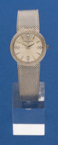 Timepieces:Wristwatch, Baume & Mercier 27 mm, 14k White Gold Diamond Dial With 14kBand. ...